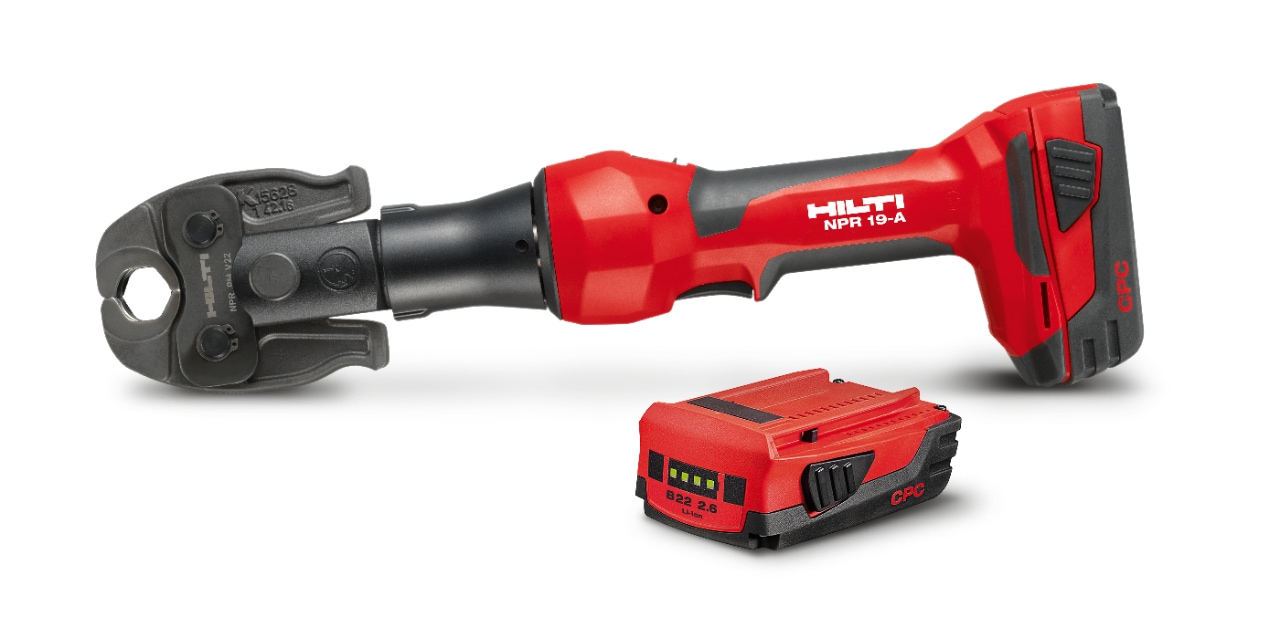 NPR 19-A cordless pipe press tool with battery